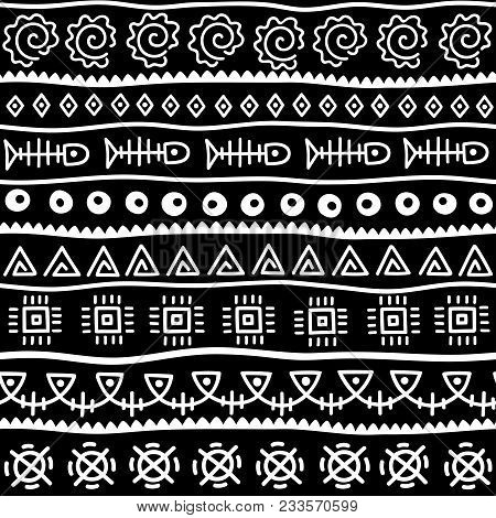 Seamless Pattern In Ethnic Style. Ornamental Element African Theme. Set Of Seamless Vintage Decorati