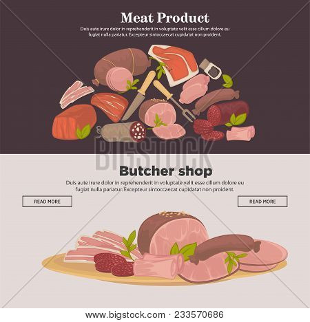 Meat Products Web Banners Of Farm Meat Delicatessen And, Sausages. Vector Cervelat, Pepperoni Or Liv