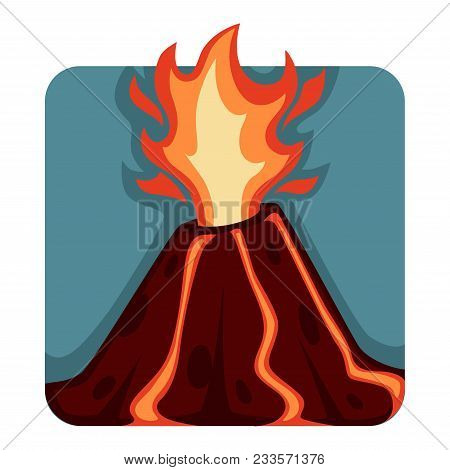 Destructive And Unpredictable Volcanic Eruption With Hot Streams Of Lava And Fire Ejection. Natural