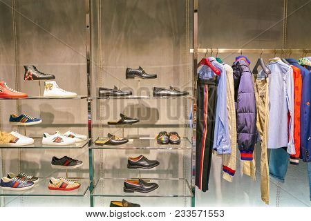 MILAN, ITALY - CIRCA NOVEMBER, 2017: various of Gucci clothes on display at Rinascente. Rinascente is a collection of high-end stores.