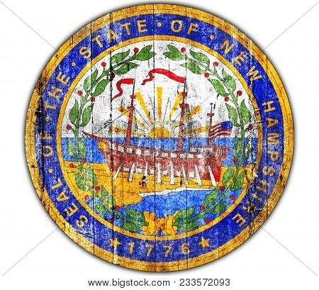 Us State New Hampshire National Seal Concrete Flag