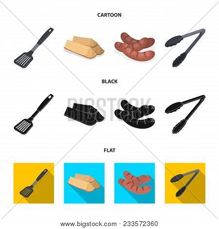 Blade Kitchen, Firewood, Sausages And Other For Barbecue.bbq Set Collection Icons In Cartoon, Black,