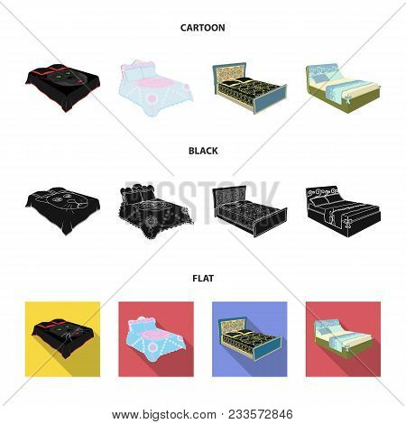 Different Beds Cartoon, Black, Flat Icons In Set Collection For Design. Furniture For Sleeping Vecto