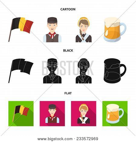 National Flag, Belgians And Other Symbols Of The Country.belgium Set Collection Icons In Cartoon, Bl