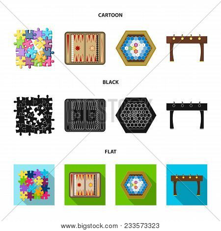 Board Game Cartoon, Black, Flat Icons In Set Collection For Design. Game And Entertainment Vector Sy