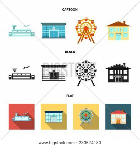 Airport, Bank, Residential Building, Ferris Wheel.building Set Collection Icons In Cartoon, Black, F