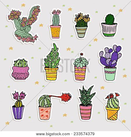 Fun Patch Cactus Set. Print Pin, Badge, Sticker, Collection. Cactus Vector Illustration. Set Of Cute