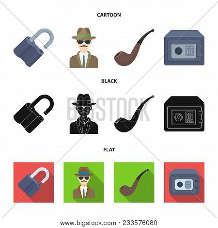 Lock Hacked, Safe, Smoking Pipe, Private Detective.detective Set Collection Icons In Cartoon, Black,