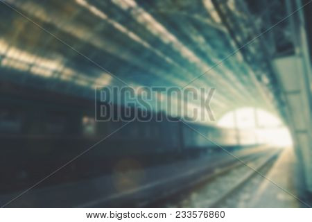 Blurred Perspective View Of A Railway Station