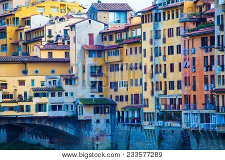 Florence, Italy -  September 26, 2017: Ponte Vecchio over Arno river in Florence, Italy