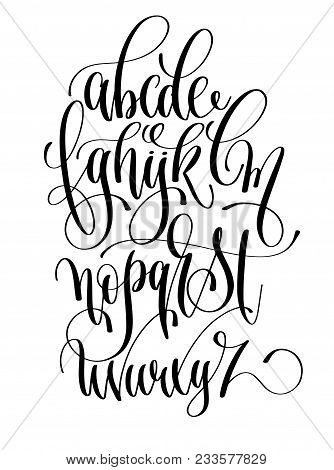 Black And White Hand Lettering Alphabet Design, Handwritten Brush Script Modern Calligraphy Cursive