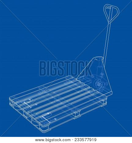 Hand Pallet Truck With Pallet. 3d Illustration. Wire-frame Style