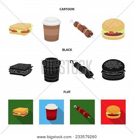 Sandwich, Coffee, Shish Kebab, Burger.fast Food Set Collection Icons In Cartoon, Black, Flat Style V
