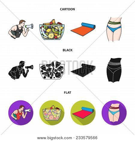 Personal Trainer, Fruit Salad, Mat, Female Waist. Fitnes Set Collection Icons In Cartoon, Black, Fla