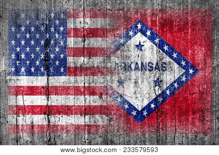 Arkansas Official And Us State National Concrete Flag