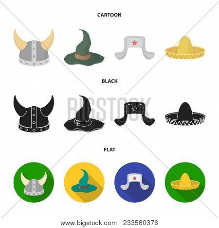 Sombrero, Hat With Ear-flaps, Helmet Of The Viking.hats Set Collection Icons In Cartoon, Black, Flat