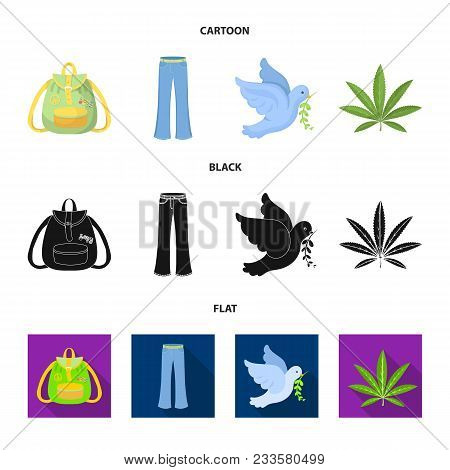 A Cannabis Leaf, A Dove, Jeans, A Backpack.hippy Set Collection Icons In Cartoon, Black, Flat Style