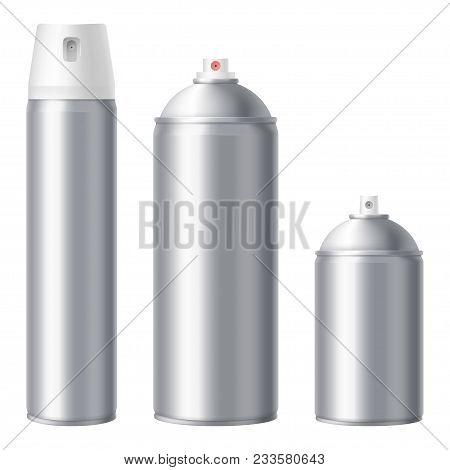 Metallic Spray Can Mock Up Isolated On White Background. Blank Aerosol Can Mock-up Set. Large, Mediu
