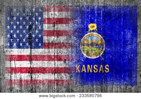 Kansas Official And Us State National Concrete Flag