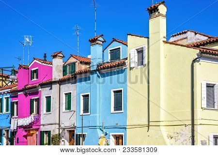 Daylight View To Colorful Buildings Facades