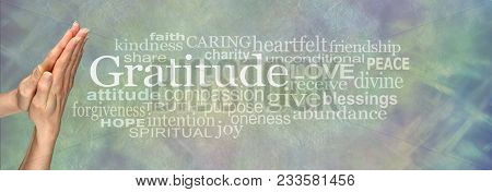 Gratitude Prayer Word Tag Cloud     - Female Hands In Prayer Position Beside The Word Gratitude And