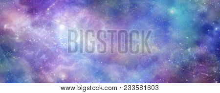 Colourful Cosmic Galactic Space Background Banner - Vibrant Deep Space Panoramic View With Many Diff