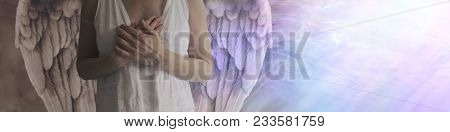 There Is Dark And Light In All -   Angel Showing Torso In White Robes With Hands Held Over Heart Wit