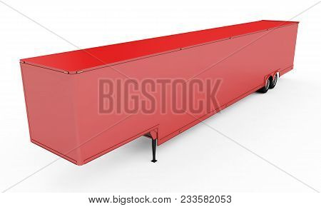 Blank White Parked Semi Trailer, Isolated On White Background 3d Render