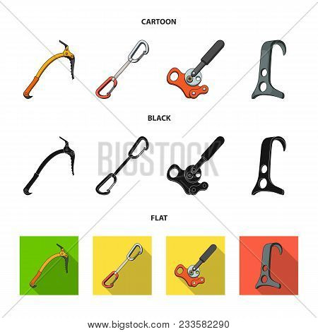 An Ice Ax, A Carbine And Other Equipment.mountaineering Set Collection Icons In Cartoon, Black, Flat