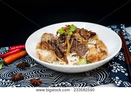Tasty beef Vietnamese food Bo bun rice vermicelli