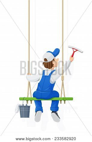 Window Washer. Cleaning Service. Cartoon Character Wash. Windows Cleaner Work. People Occupation. Wo