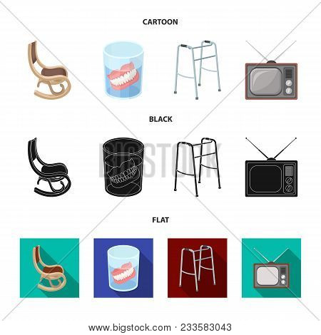 Denture, Rocking Chair, Walker, Old Tv.old Age Set Collection Icons In Cartoon, Black, Flat Style Ve