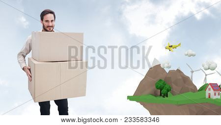 Digital composite of Delivery man carrying parcel by low poly cliff