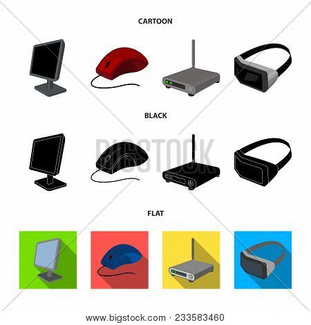 Monitor, Mouse And Other Equipment. Personal Computer Set Collection Icons In Cartoon, Black, Flat S