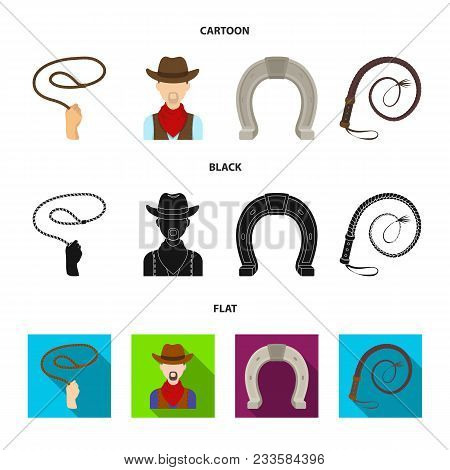 Hand Lasso, Cowboy, Horseshoe, Whip. Rodeo Set Collection Icons In Cartoon, Black, Flat Style Vector