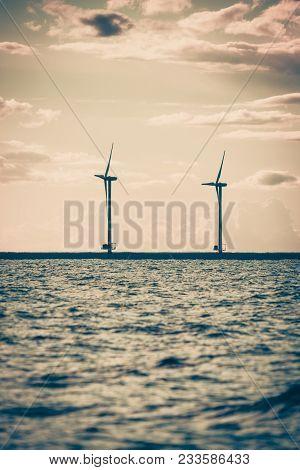 Wind Turbines Generator Farm For Renewable Sustainable And Alternative Energy Production Along Coast