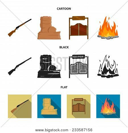 Winchester, Saloon, Rock, Fire.wild West Set Collection Icons In Cartoon, Black, Flat Style Vector S