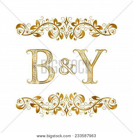 B&y Vintage Initials Logo Symbol. Letters B, Y, Ampersand Surrounded Floral Ornament. Wedding Or Bus
