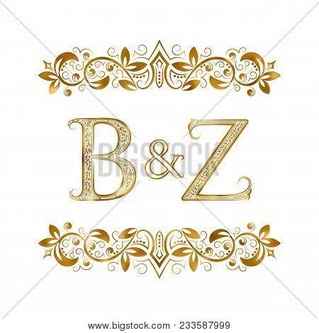 B&z Vintage Initials Logo Symbol. Letters B, Z, Ampersand Surrounded Floral Ornament. Wedding Or Bus