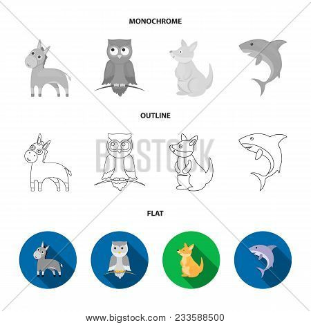 Whale, Elephant, Snake, Fox.animal Set Collection Icons In Flat, Outline, Monochrome Style Vector Sy