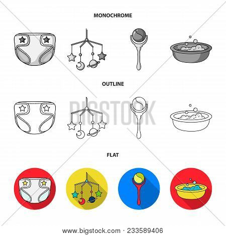 Pacifier, Electronic Thermometer, Children Overalls, Diaper.baby Born Set Collection Icons In Flat,