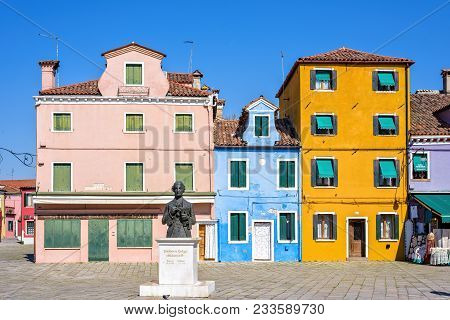 Daylight View To Vibrant Colorful City Buildings Facade