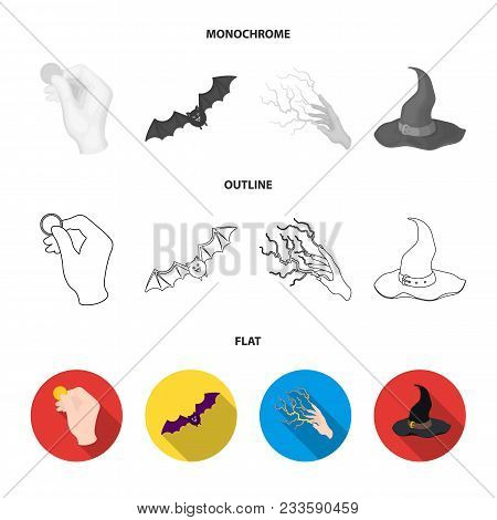 A Voodoo Doll, A Magical Fire, A Love Potion, A Skull.black And White Magic Set Collection Icons In