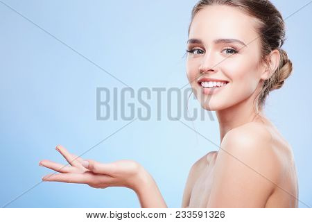 Smiling Woman With Stretched Hand