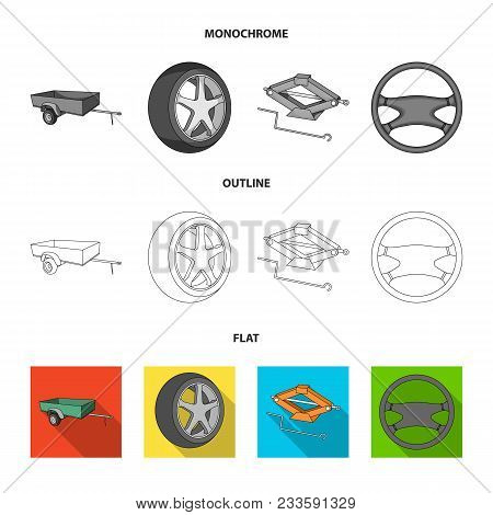 Traffic Light, Old Car, Battery, Wrench, Car Set Collection Icons In Flat, Outline, Monochrome Style