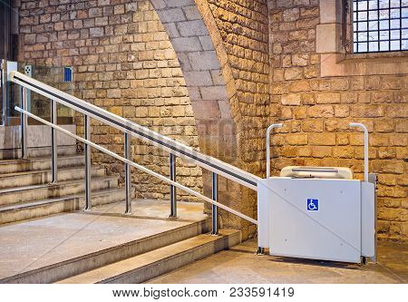 Inclined Wheelchair Lift For People With Disabilities. Barcelona. Spain.