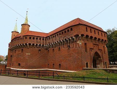 Side View Of Krakow Barbican Medieval Outpost Of Old Town City Fortification Walls, Krakow Poland