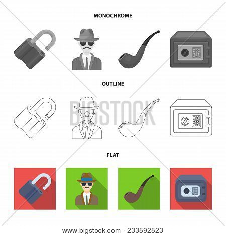 Flashlight, Newspaper With News, Certificate, Folding Knife.detective Set Collection Icons In Flat,