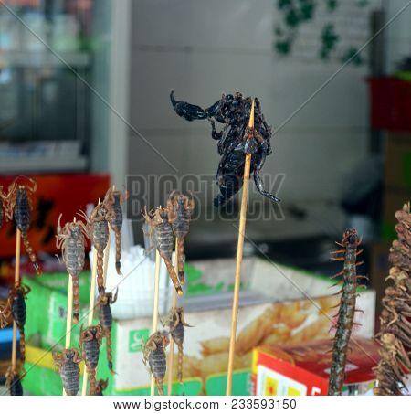 Chinese Street Food In The Hutongs Of Beijing Wangfujing Street Roasted Scorpions As Snack Street Fo