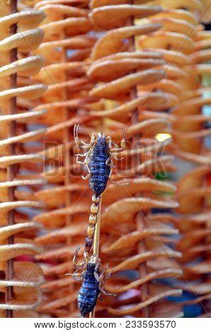 Live Scorpionas Snack Street Food In China  - Chinese Street Food In The Hutongs Of Beijing Wangfuji